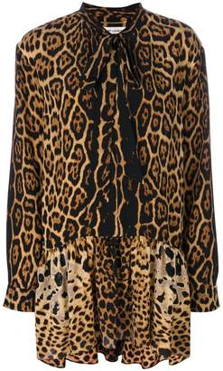Saint Laurent leopard print neck tie dress