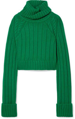 Matthew Adams Dolan - Oversized Cropped Cable-knit Merino Wool Turtleneck Sweater - Green