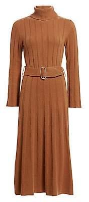 Each X Other Women's Rib-Knit Cashmere & Merino Wool Turtleneck Belted A-Line Midi Dress