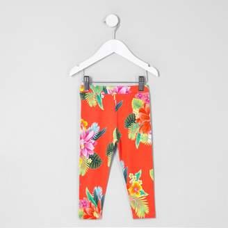 River Island Mini girls Orange tropical print leggings