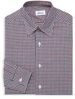 Brioni Gingham Cotton Dress Shirt