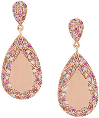 Carolina Bucci Pave Frame Pear Cut earrings