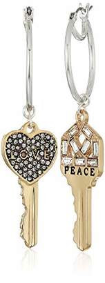 BCBGeneration BCBG Generation Two-Tone 'Peace' and 'Love' Key Drop Earrings