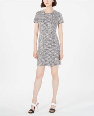 Calvin Klein Petite Jacquard Ponte-Knit Sheath Dress