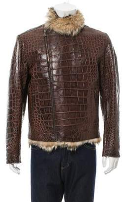 Bijan Fur-Lined Crocodile Biker Jacket