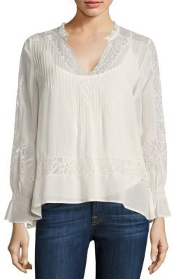Love Sam Victorian Pleated Lace-Inset Blouse $195 thestylecure.com