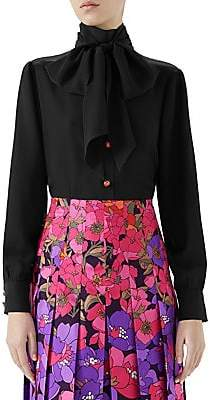 Gucci Women's Long-Sleeve Lady Bug Button Tie-Neck Blouse