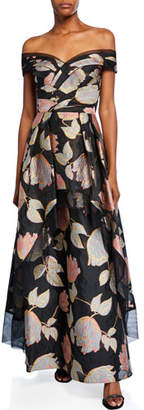 Aidan Mattox Floral Jacquard Off-Shoulder Short-Sleeve Peplum Gown