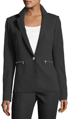 Lafayette 148 New York Lyndon Zip-Pocket Punto Blazer, Plus Size
