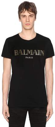 Balmain Gold Logo Print Cotton Jersey T-Shirt
