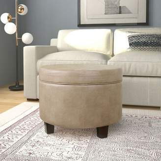 HomePop Round Faux Leather Storage Ottoman, Taupe