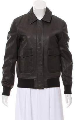 Closed Leather Bomber Jacket w/ Tags