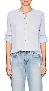 Pas De Calais Women's Leah Striped Cotton Shirt - Lt. Blue