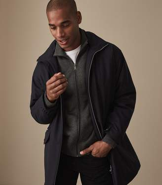 Reiss Our last order date for Christmas has now passed JONATHAN FUNNEL NECK ZIP THROUGH JUMPER Charcoal