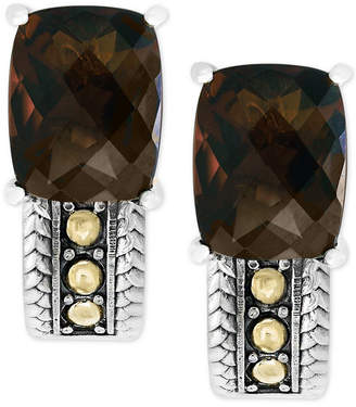 Effy Smoky Quartz Drop Earrings (6-1/5 ct. t.w.) in Sterling Silver and 18k Gold