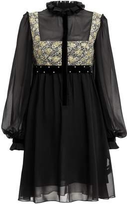 Philosophy di Lorenzo Serafini Brocade Detail Chiffon Dress