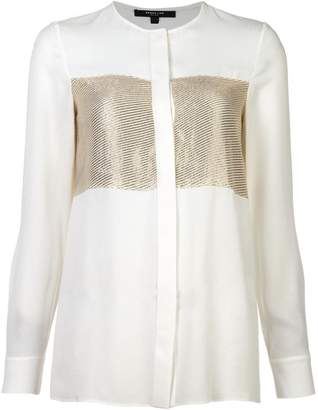 Derek Lam Collarless Blouse with Lame Stripe