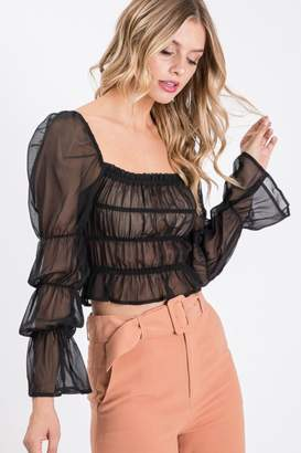 Idem Ditto Shirring Blouse Top