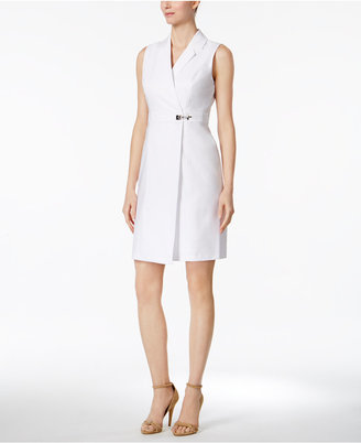 Calvin Klein Sleeveless Faux-Wrap Shirtdress $124 thestylecure.com