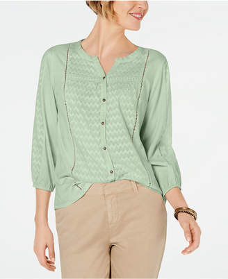 Style&Co. Style & Co Ladder-Trim Bubble-Sleeve Top