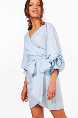 boohoo Ruffle Wrap Shift Dress