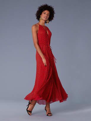 3a8fe5b1c34 ... Diane von Furstenberg Keyhole Waist Tie Maxi Dress