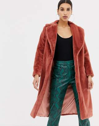 Club L long line faux fur coat