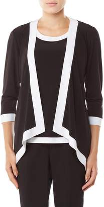 TanJay Tan Jay Contrast Trim Open Front Cardigan Back