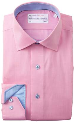 Lorenzo Uomo Textured Solid Trim Fit Dress Shirt
