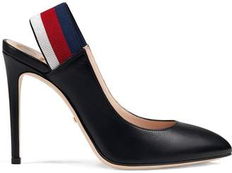 Gucci Leather Web slingback pumps