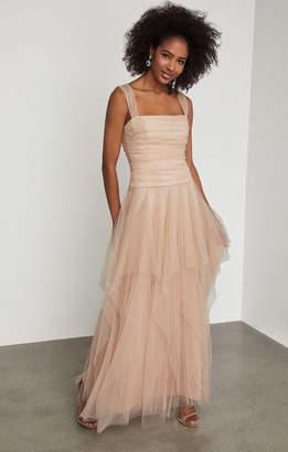BCBGMAXAZRIA Faux Pearl Ruffle Gown
