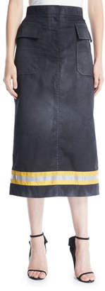 Calvin Klein Resin Coated Gabardine A-Line Calf-Length Skirt w/ Fireman Taping