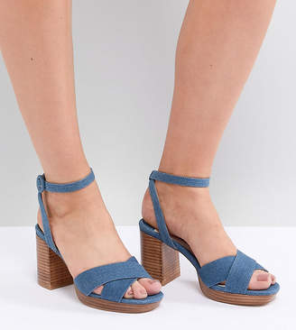 Faith Wide Fit Denim Stacked Heeled Sandals