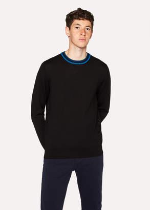 Paul Smith Men's Black Merino Wool Sweater With Contrast Collar