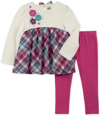 Kids Headquarters Little Girls 2-Pc. Long-Sleeve Embroidered Plaid Tunic & Leggings Set