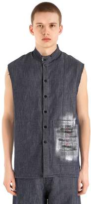 Isabel Benenato Raw Cut Hand-Painted Long Denim Vest