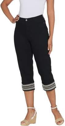 Denim & Co. Stretch Twill Embroidered Cuff 5-Pocket Capri Pants