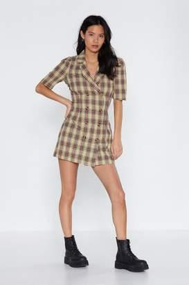 Nasty Gal Focus Button the Positives Tartan Dress