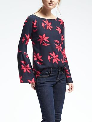 Easy Care Bell Sleeve Floral Crepe Top $78 thestylecure.com