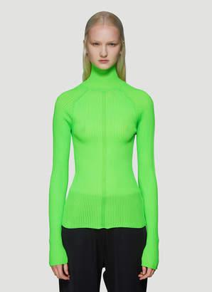 Acne Studios Ribbed Polo Neck Long Sleeve Top in Green