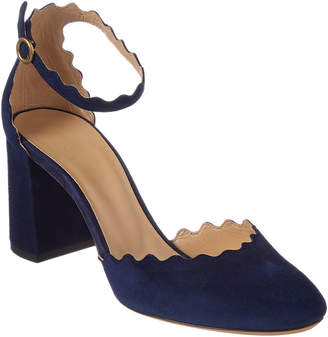 Chloé Scalloped Suede Ankle-Strap Pump