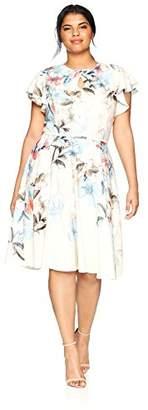 Gabby Skye Women's Plus Size Ruffled Sleeve Floral Dress