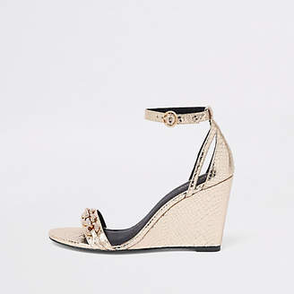 River Island Gold rhinestone trim snake embossed wedges
