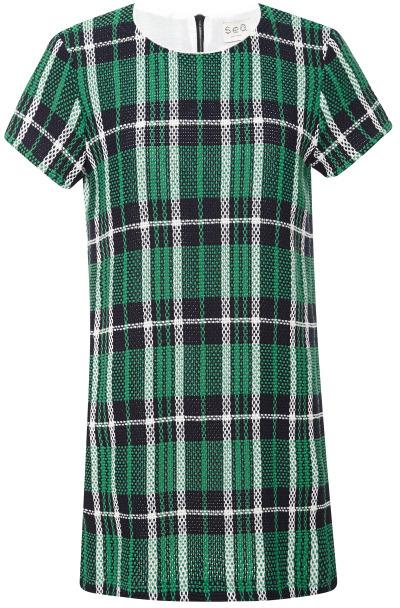 Sea Woven Stretch Plaid Shirt Dress