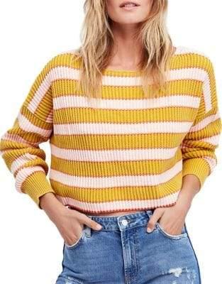 Free People Just My Stripe Cotton Sweater