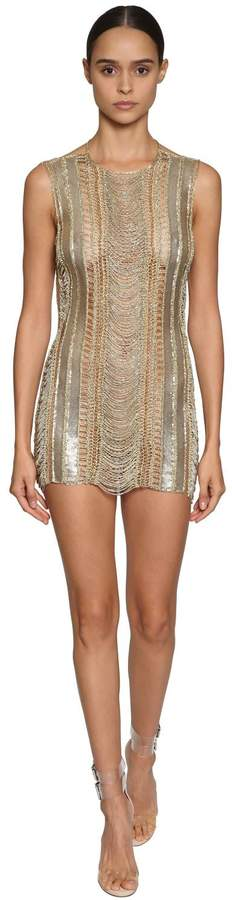 37a63eca41 Julien Macdonald Embellished Metal   Knit Mesh Mini Dress