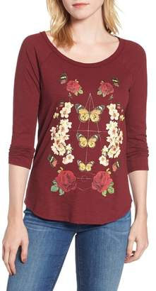 Lucky Brand Butterfly Floral Print Top