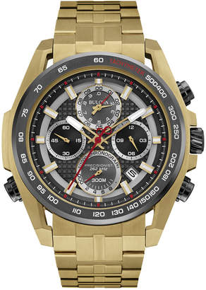 Bulova Men's Chronograph Precisionist Gold-Tone Stainless Steel Bracelet Watch 43mm 98B271