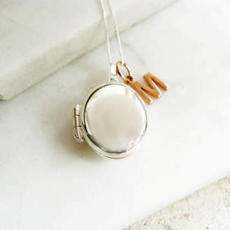 Lime Tree Design Personalised Oval Locket With Rose Gold Letter