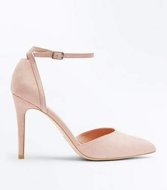 New Look Nude Suedette Ankle Strap Pointed Courts